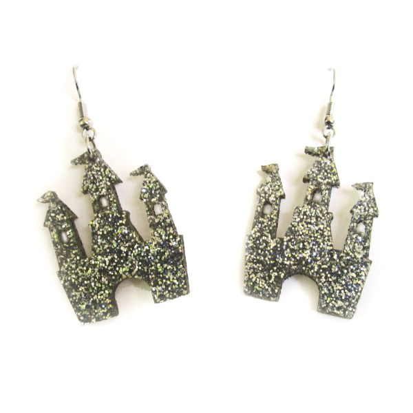 Silver Glitter Magical Princess Castle Earrings
