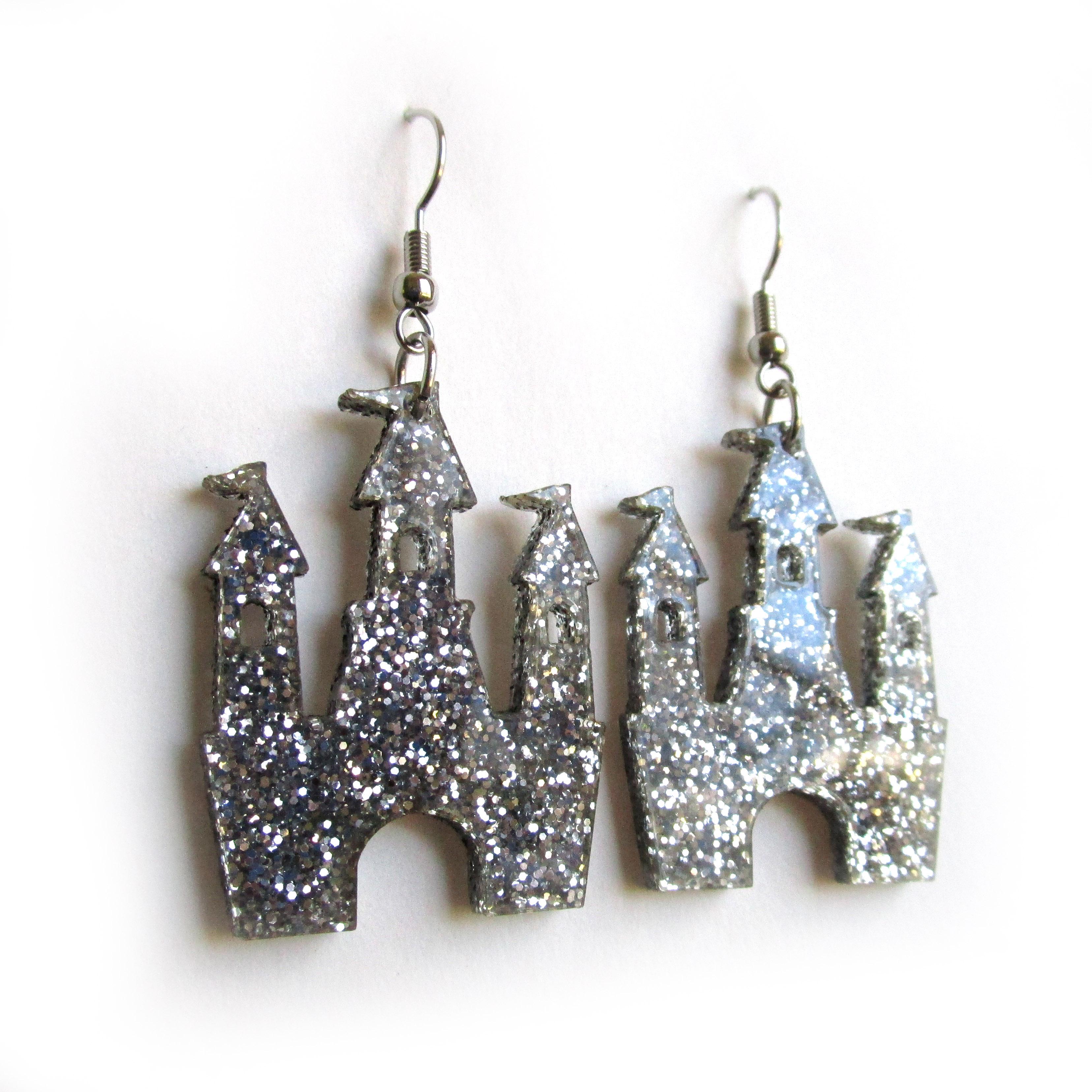 Sparkle Glitter Magic Castle Dangle Statement Earrings