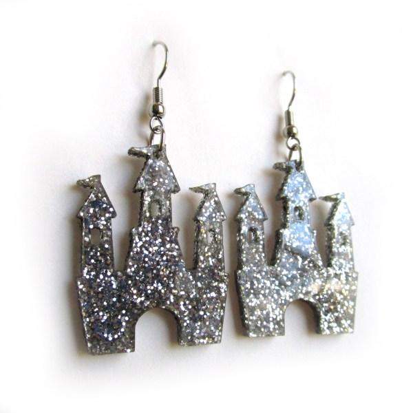 Silver Glitter Magical Princess Castle Earrings
