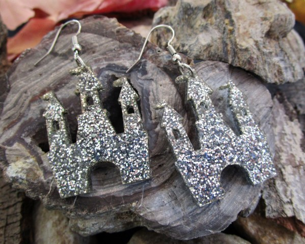 Silver Glitter Magical Princess Castle Statement Dangle Earrings