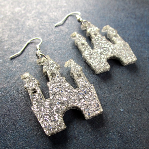 close up of Silver Glitter Magical Princess Castle Earrings side view
