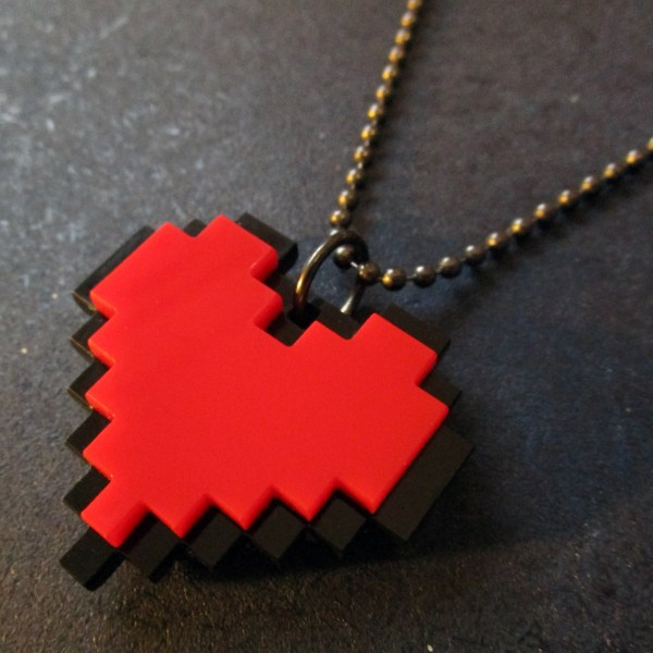 side view to show details 8bit red heart necklace