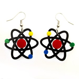 atom molecule particle nucleus pendant statement costume earrings