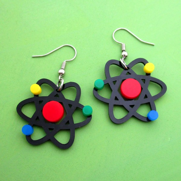 atom dangle earrings on green background