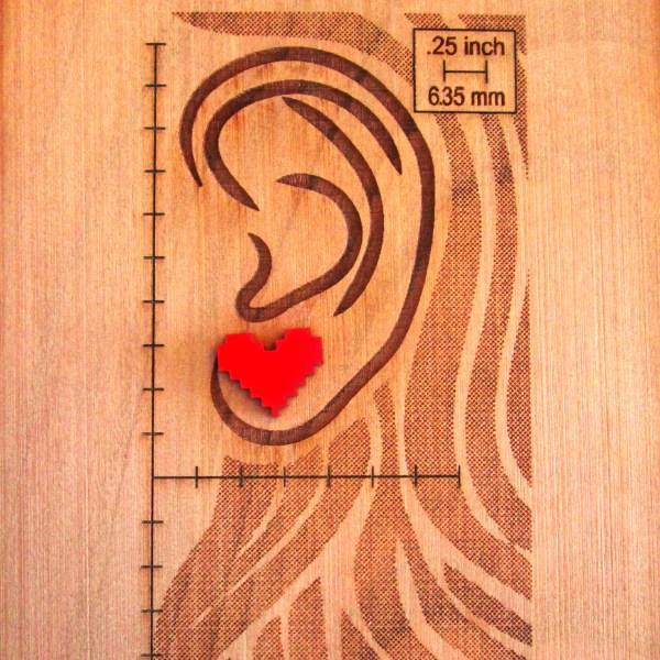 Red Pixel Heart Stud Earrings FoxyFunk Designs