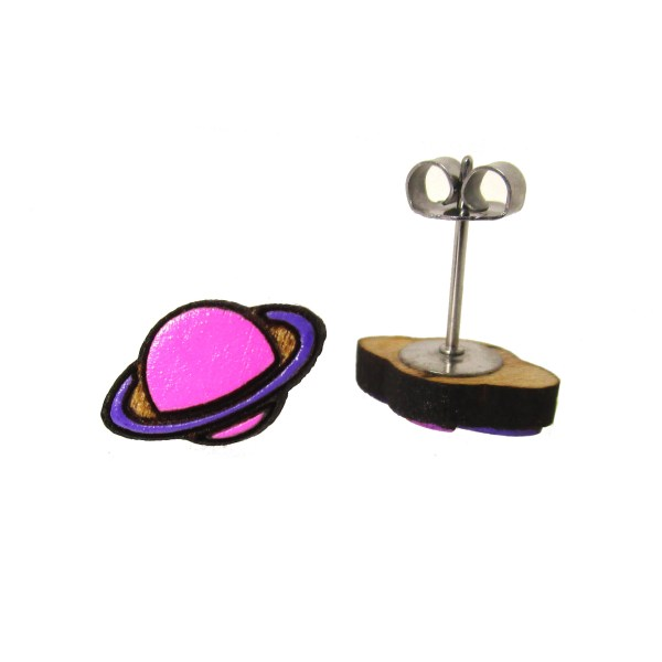 small hand painted pink and purple ringed saturn planet stud earrings