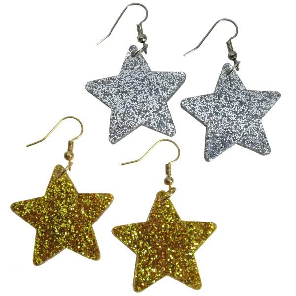 big gold glitter star and big silver glitter star dangle earrings new years celerbration reward jewelry