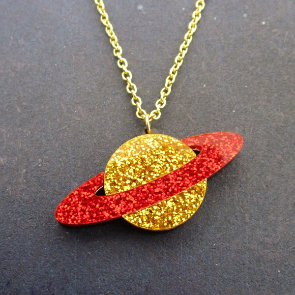 gold and red galaxy planet necklace