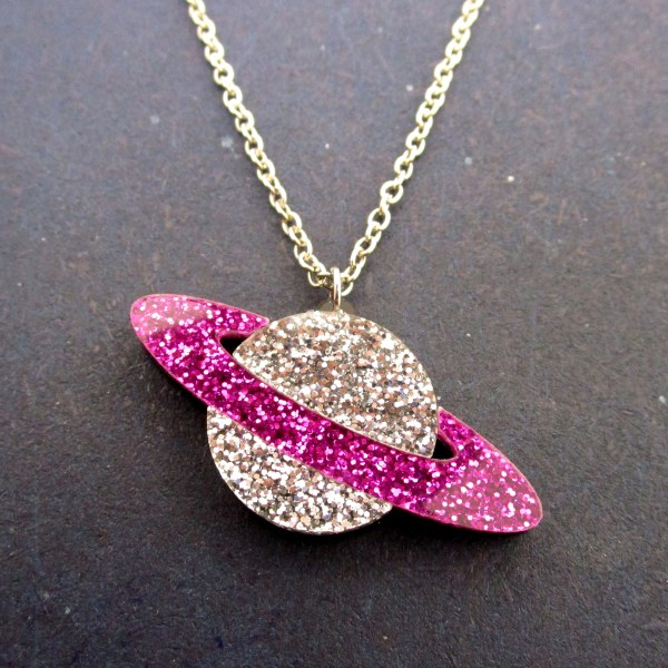 purple silver glitter pendant planet necklace