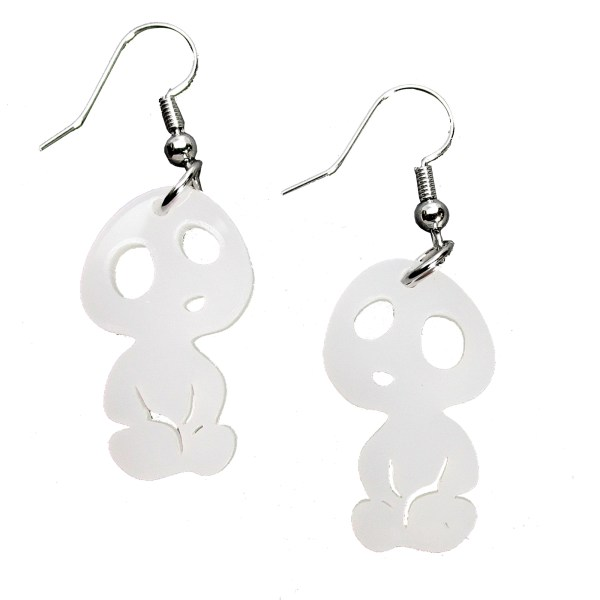 little shostly white kodama ghibli style shape earrings jewelry