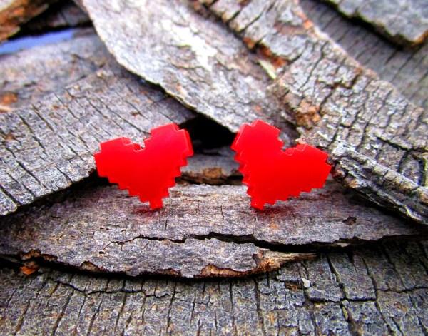 zelda coslplay earrings pixel heart