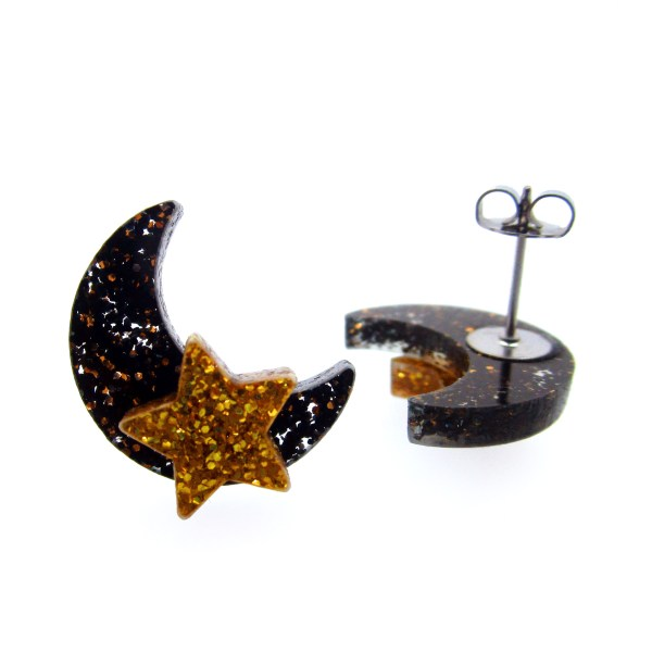glitter moon and star stud earrings with post and butterfly clasp