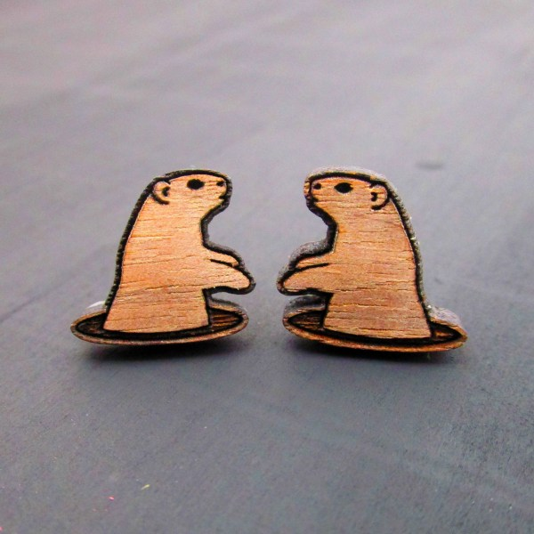 woodchuck prairie dog wood earrrings