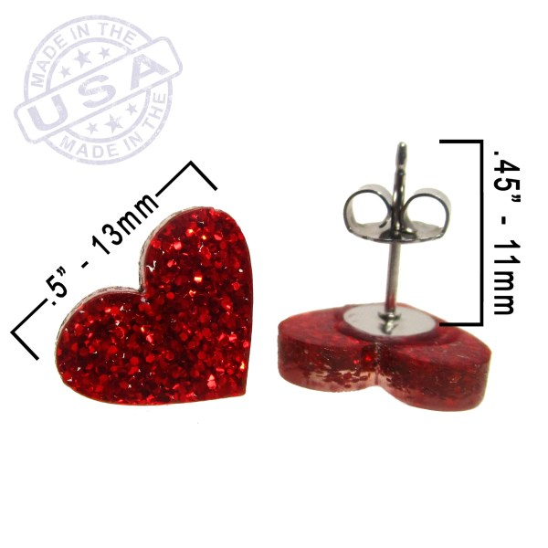 red glitter heart earrings with measurements