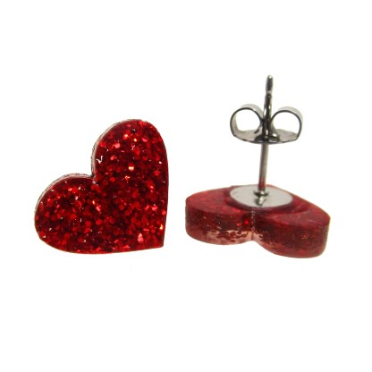 small red valentines day glitter heart earrings with butterfly post clasp