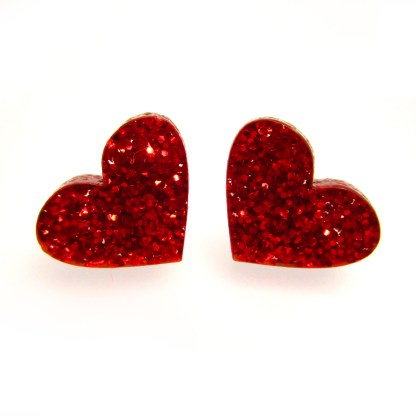 2 front facing glittery red heart earrings