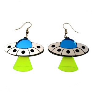 ufo flying saucer spaceship dangle earrings