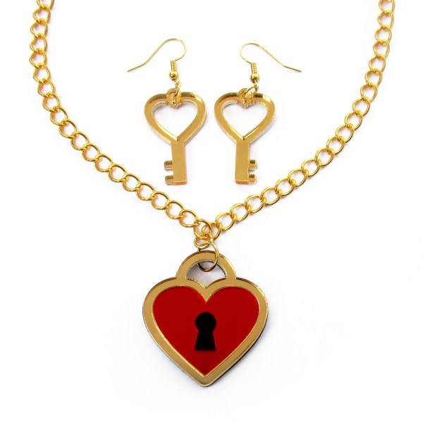 gold and red heart lock necklace and heart key earrings jewelry set