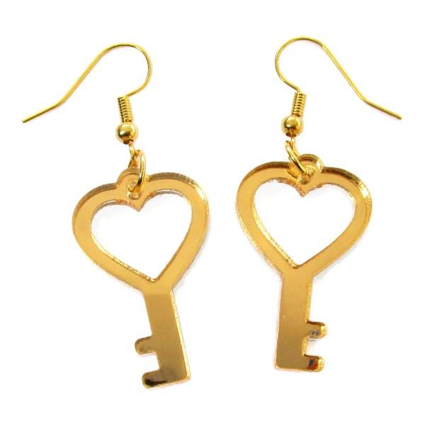 golden heart shaped key dangle earrings
