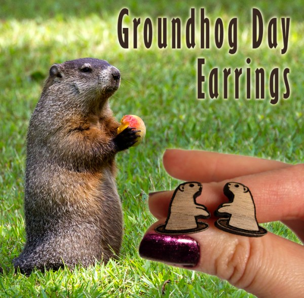 groundhogs day wood stud earrings