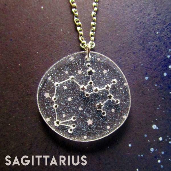 sagitarius zodiac sign constellation star pendant necklace