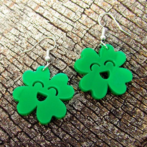 happy green 4 leaf clover dangle earrings
