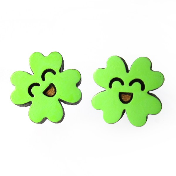 2 bright green lucky clover stud earrings that have happy faces