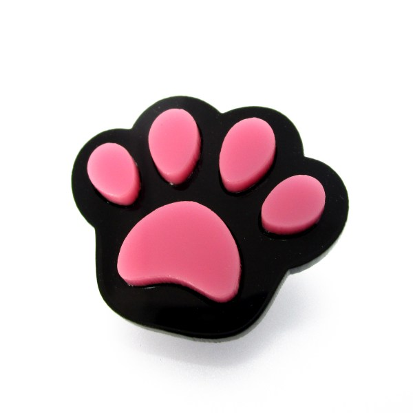 black paw with pink pads brooch