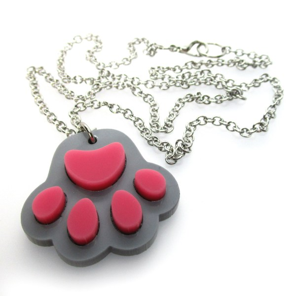 gray and pink paw print pendant necklace to show chain and detail