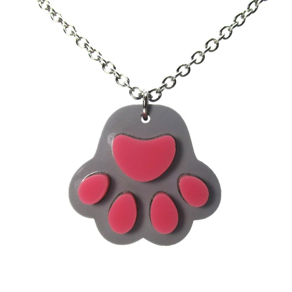 gray paw print pendant necklace on white background