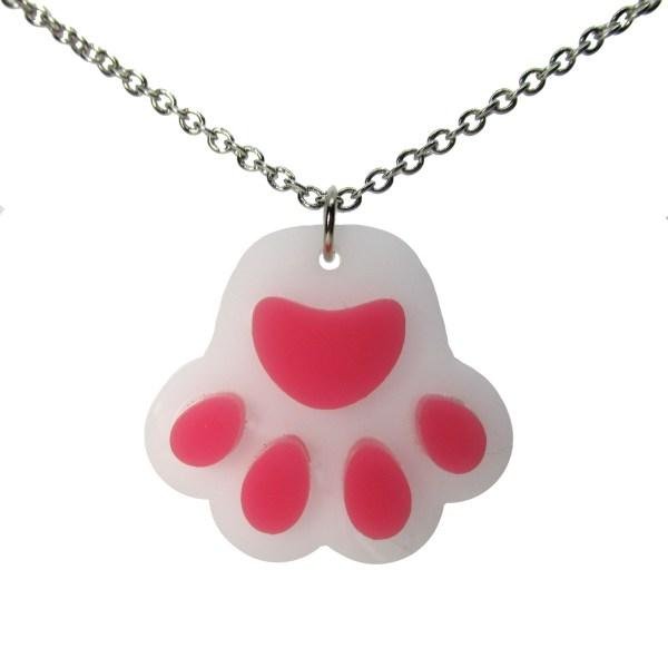 white paw print pendant necklace on white background