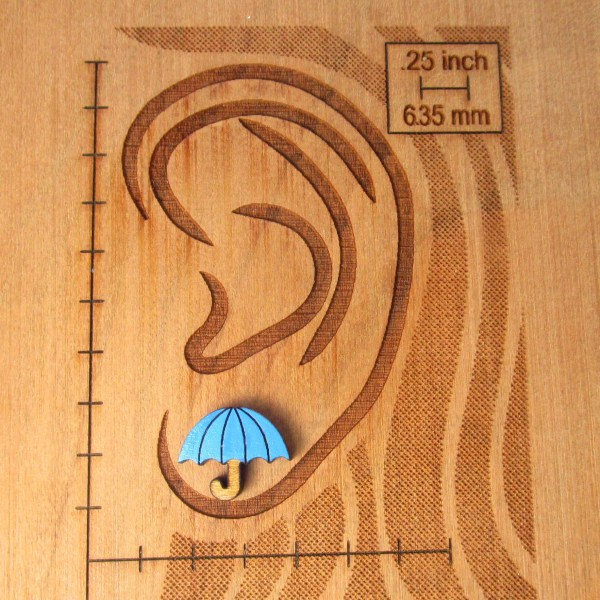blue umbrella stud earring on ear diagram to show size