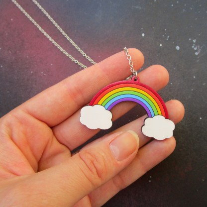 hand holding rainbow pendant to show size