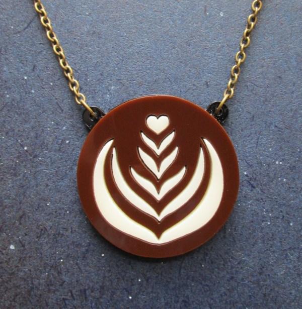 latte foam art pendant necklace