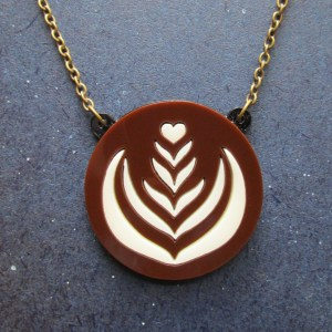 latte foam art pendant necklace