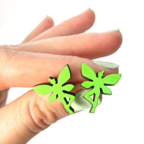 green fairy pixie stud earrings