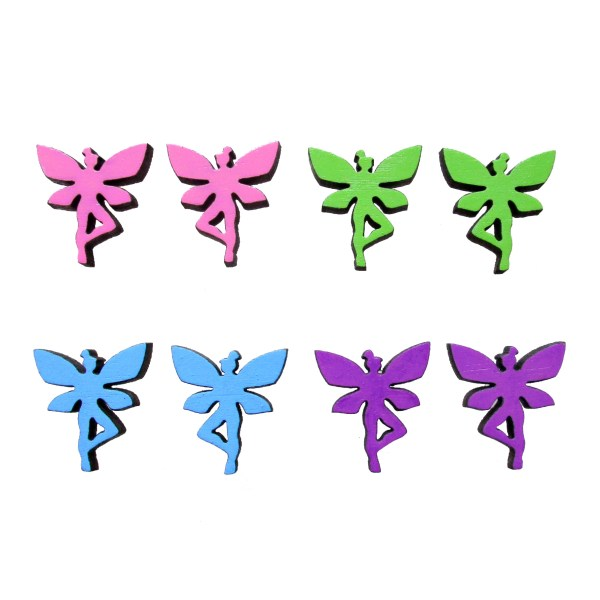 collection of colorful faerie fairy pixie stud earring on white background