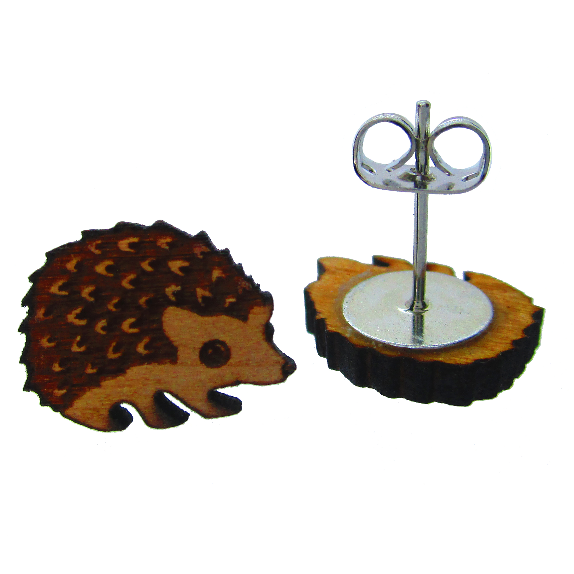 Cute Little Wood Hedgehog Stud Earrings ⋆ It S Just So You