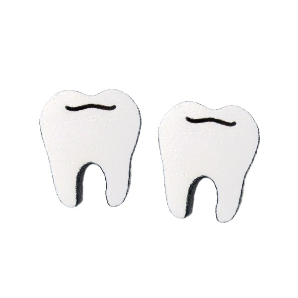 molar teeth shaped stud earrings
