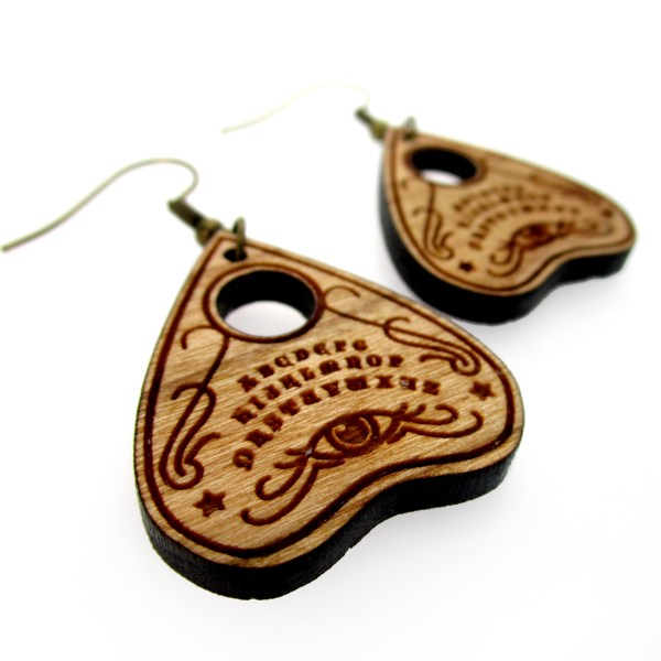 cherry wood ouija board planchette earrings side view to show detail