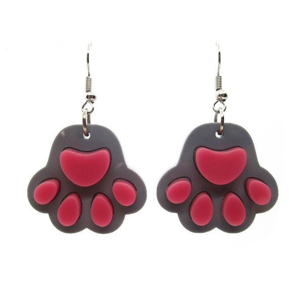 gray paw print toe beans dangle earrings on white background
