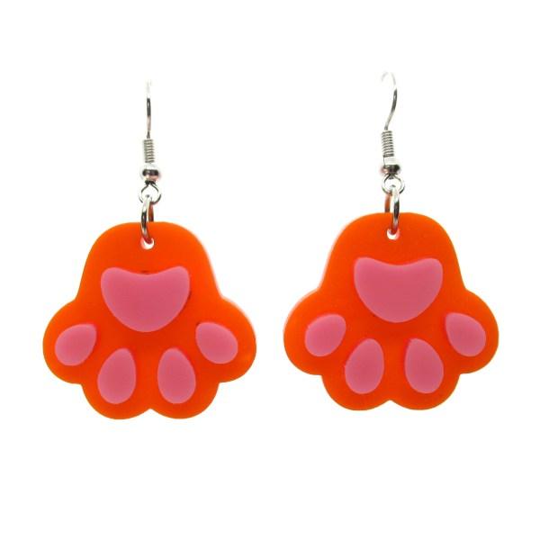 orange paw print toe beans dangle earrings on white background