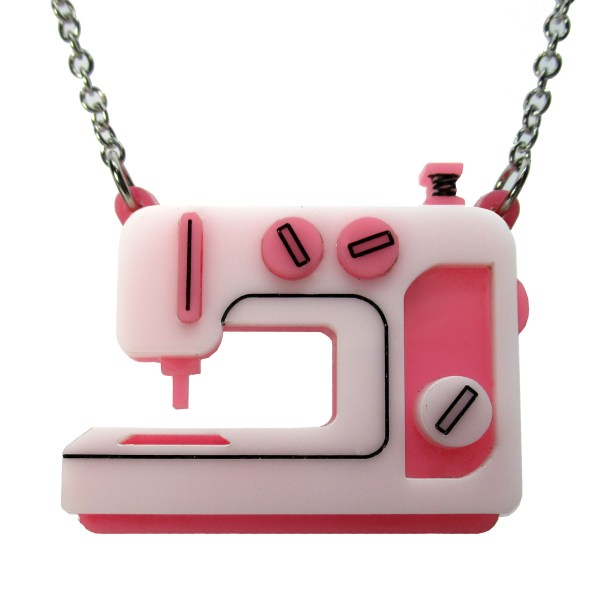pink sewing machine pendant necklace