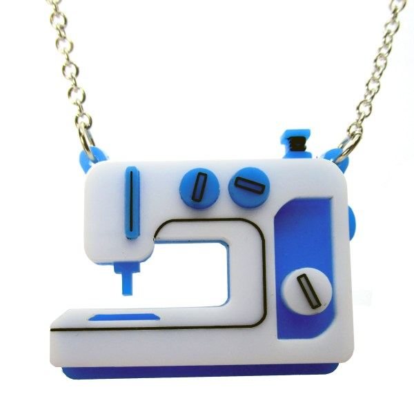 blue sewing machine pendant necklace