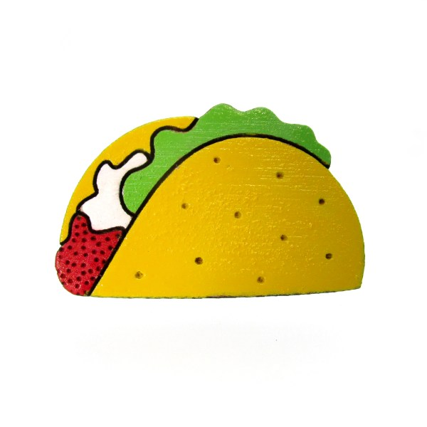 laser cut hand painted wooden taco pendant pin