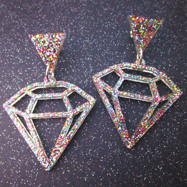 diamond shaped geometric earrings glitter large