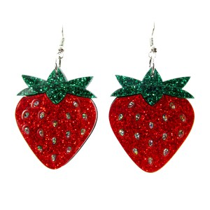pair of large glitter strawberry laser cut earrings on whte background