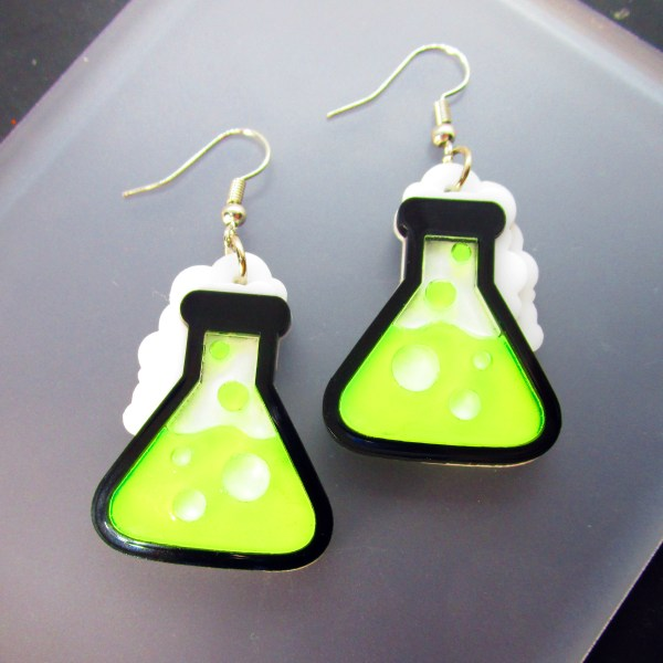 neon green science beaker experiment dangle earrings