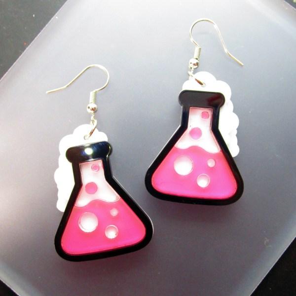 neon pink science beaker experiment dangle earrings