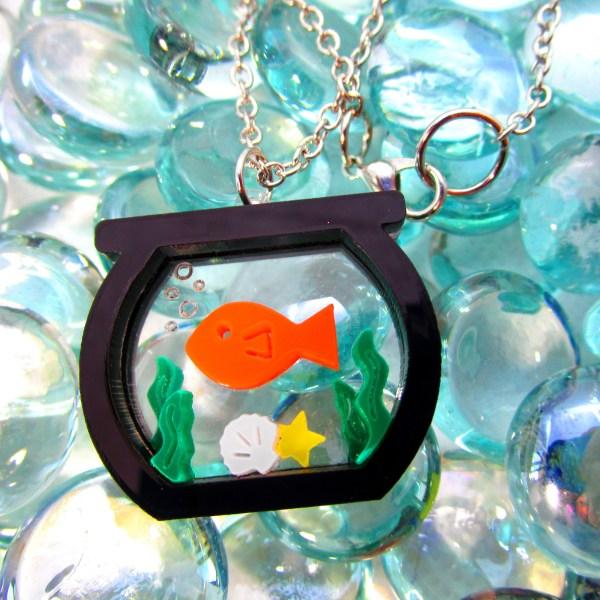 laser cut fish bowl pendant aquatice bubble glass background